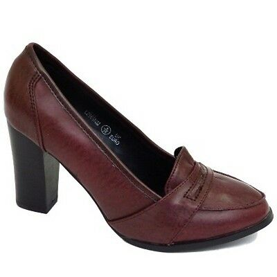 Womens Faux Leather Loafers Block Heel Court Shoes Work High Heels Size UK 3