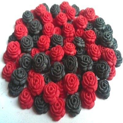 100 Edible Sugar Roses Flowers Cake Cupcake Toppers Decorations Glossy