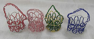 Lot of 4 Vintage 1950's Small Beaded Baskets Handmade