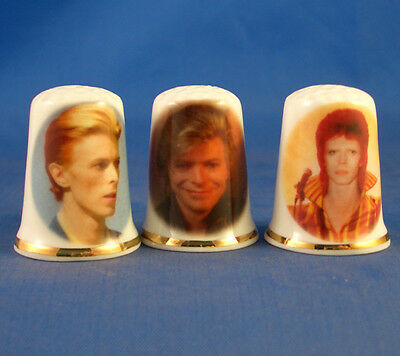Fine Porcelain China Thimbles - Set Of Three David Bowie Collection