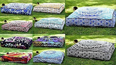 Indian Mandala Floor Pillows Square Ottoman Poufs Large Cushion Cover Dog Bed
