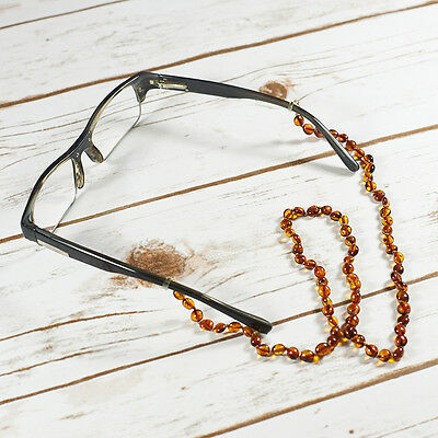 Handmade Natural Baltic Amber Glasses Holder Spectacle Cord Strap Sunglasses