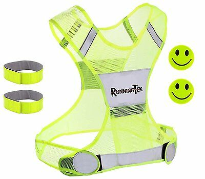 Reflective Vest for Running, Cycling, Jogging Safety | Adjustable + 2 Arm bands
