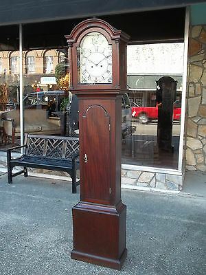 Outstanding Mahogany Tall Case Clock with a painted Dial 19th century.