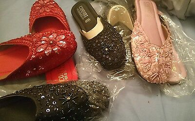 Wholesale Joblot Women Indian Khussa shiny beaded sequin flat shoes 5 pairs