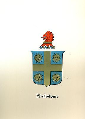 *Great Coat of Arms Nicholson Family Crest genealogy, would look great framed!