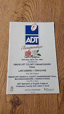 Lancashire v Yorkshire 1993 County Championship Final Rugby Programme