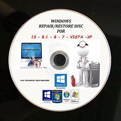Windows 10 7 8 Xp Vista Pro Boot Cd Pc Repair Recovery Reset Disc Acer Hp Dell
