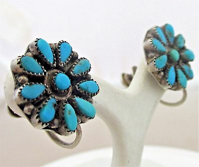 Southwest Sterling Silver Turquoise Cluster Screwback Earrings
