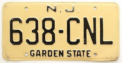 Vintage New Jersey 1975 Garden State License Plate 638-CNL, Atlantic City, Shore