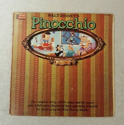 Walt Disney Stories & Songs From Pinocchio Lp With Full Colour Book 1962
