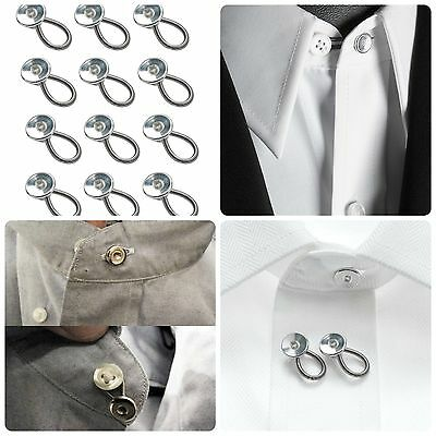 Metal Collar Button Extender Dress Shirt Trouser Coat Pant Maternity Wear 12 Pcs