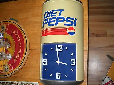 "Vintage Large Diet Pepsi Can Wall Clock 24"" x 12.5""   800"