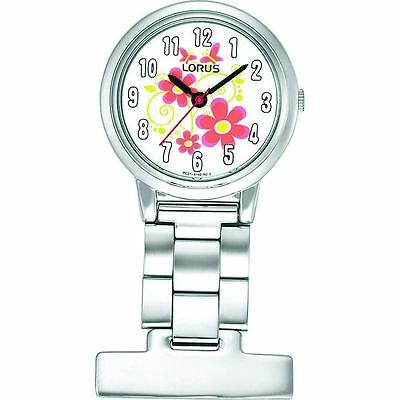 Lorus Nurses Fob Watch - Silver with Flower Pattern Dial