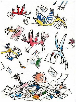 Authentic Signed Quentin Blake 6 X 4 Promo Card....real Signature...coa...rare