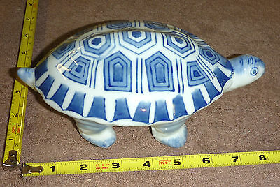 """Ceramic 8"""" Long TURTLE Figurine - Blue & White -- VERY Attractive -- Take-A-LOOK"""