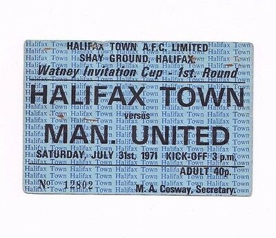 1971 WATNEY CUP Halifax Town v Manchester United (TICKET)