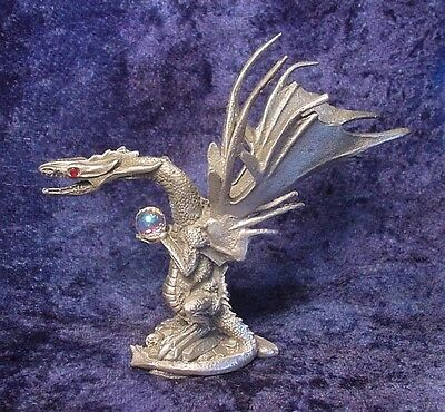 Pewter Dragon with Large Crystal Treasure