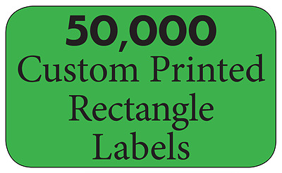 "50,000 Custom Printed Labels, 3/4"" x 1-1/4"" Rectangle Business Stickers, 1-Color"