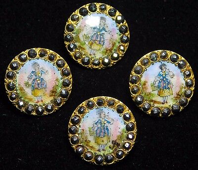 """19TH C ANTIQUE Enamel BUTTON Lot  """"Who'll Buy My Lavender"""" Faceted Steel BORDER"""