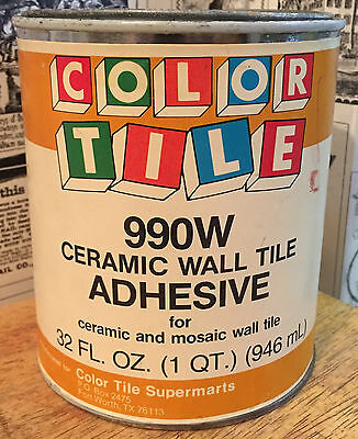 Vintage Color Tile Ceramic Wall Tile Adhesive Can - Paper Label - Advertising