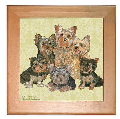 "Yorkshire Terrier Yorkie Dog Kitchen Ceramic Trivet Framed in Pine 8"" x 8"""