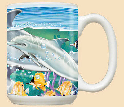 Dolphin Ceramic Coffee Mug Tea Cup 15 oz