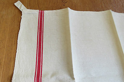 Vintage French Towel Kitchen Linen Cotton Red Stripe torchon Tea Dish Cloth
