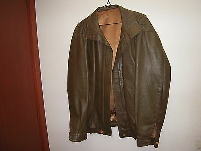 Vintage Leather jacket 1960's - Green leather - size Large