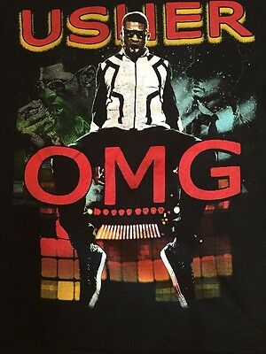 """USHER """"OMG Tour"""" Adult Small 2011 Tour T-Shirt With Akon Double Sided"""
