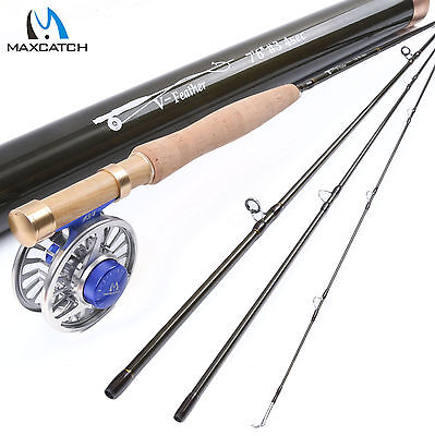 Maxcatch Fly Fishing Rod Combo 7'6'' 3WT 4Sec IM10 Fly Rod,CNC Machined Fly Reel