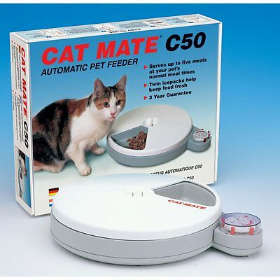 Cat Mate Pet Cat Dog Automatic Wet or Dry Food 5 Meal Feeder + Ice Packs - C50