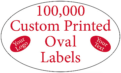 "100,000 Printed Labels Custom Oval 3/4"" x 1-1/4"" Business Stickers 1-Color Rolls"