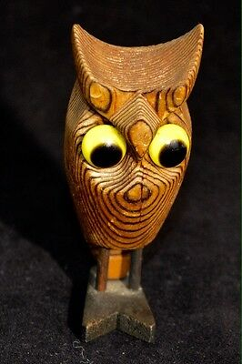 Vintage Carved Wood Owl With Glass Eyes