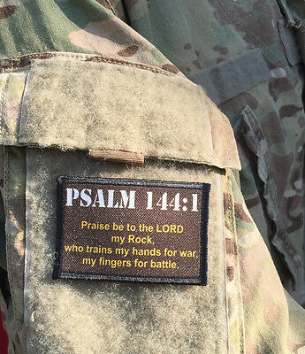Psalm 144:1 Morale Patch Milspec Tactical Military USA Hook Badge Army Flag
