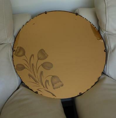 RARE TO FIND Art Deco Vintage Gold Toned Round Glass Hanging Wall Mirror