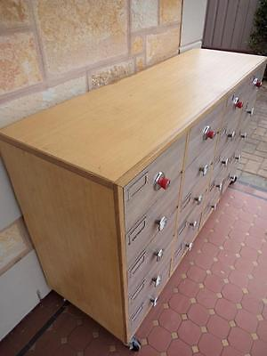 c.1950's ex-John Martins Mid-Century 20 Drawers Commercial Cabinet on Castors