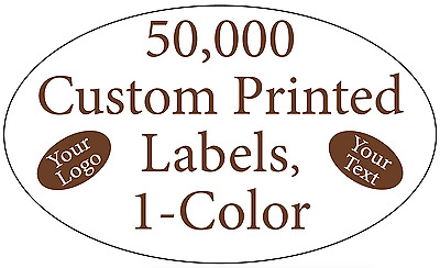 "50,000 Custom Printed Labels Oval 3/4"" x 1-1/4"" Business Stickers 1-Color Rolls"