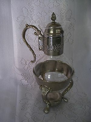 Vintage Clear Glass & Silver-plate Carafe Pitcher with warmer base