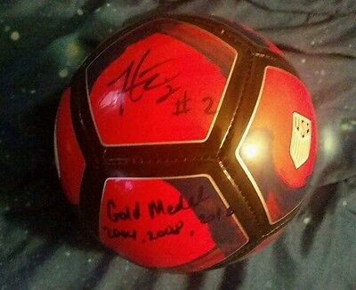 Heather Mitts autographed USA mini soccer ball gold medal inscription