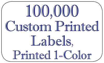 "100,000 Custom Printed Labels, 3/4"" x 1-1/4"" Rectangle Business Stickers 1-Color"