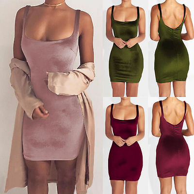 UK Fashion Women Velvet Strappy Bodycon Tops Sleeveless Evening Party Mini Dress