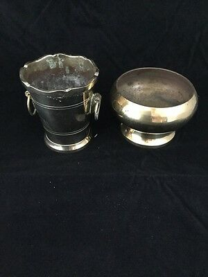 2 x Vintage Brass Footed Pot Plants Planters / Footed Bowl - Small
