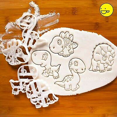 SET of 4 Baby Dinosaur cookie cutters   jurassic kids party t rex biscuit cutter