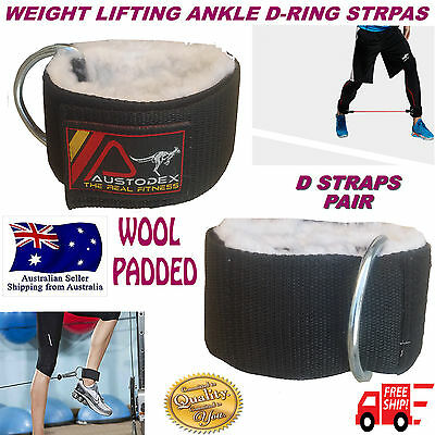 Austodex Wool Weight Lifting D-Ring Pulley Cable Ankle Attachment Gym Leg Strap