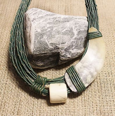Large Green Leather Necklace from Africa Big Bold Ethnic Tribal Jewelry