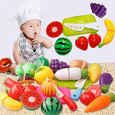 Kitchen Plastic Fruit Vegetable Food Pretend Reusable Role Play Cutting Set Chic