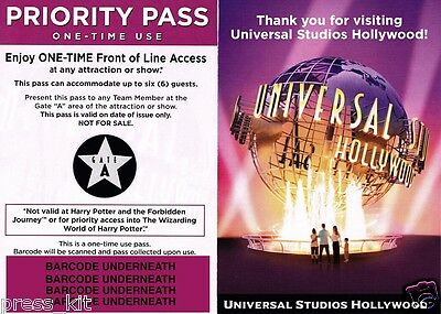 4 NEW Universal Studios Hollywood Front of the Line Priority Passes GATE A