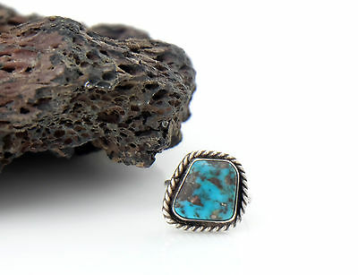 Vtg Sterling Silver Braided Navajo Turquoise Ring sz 5.75