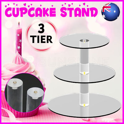 OZ 3 Tier Cupcake Cake Stand Clear Acrylic Round Birthday Wedding Party Display